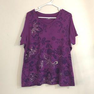 St. John's Bay purple t-shirt with pattern sz 1x